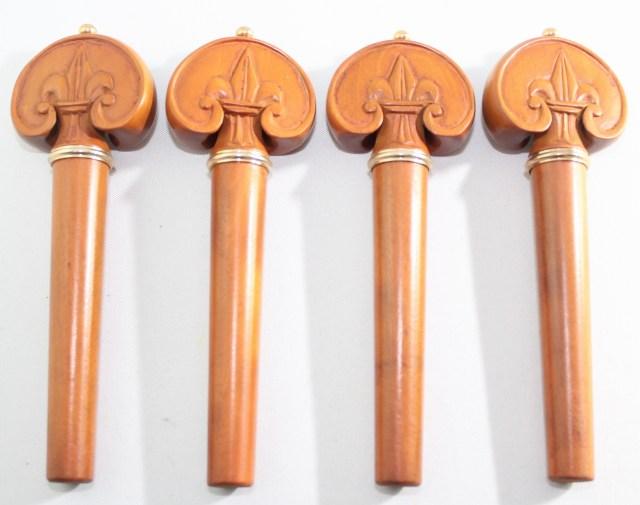 チェロ用ペグ4本  柘植 装飾ハート・スタイル(ゴールド・ピン、ゴールド・カラー)
