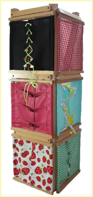 モンテッソーリ 着衣枠 12個セット ♪スタンド付き♪ Montessori 12 Dressing Frames with Stand 知育玩具