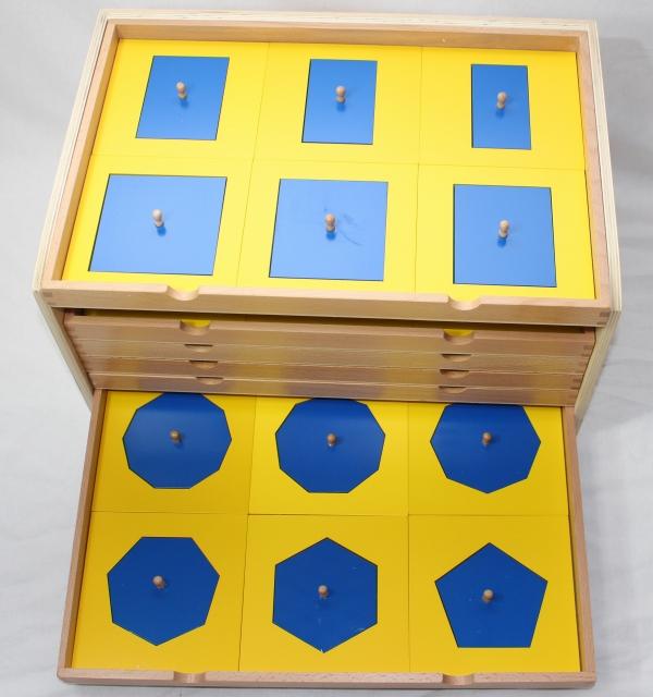 モンテッソーリ 幾何たんす ♪青、黄 36種 6段♪ Montessori Geometric Cabinet 知育玩具