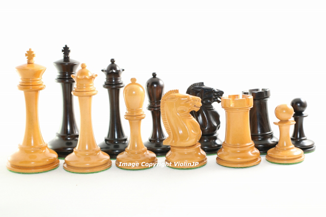 B&Co. 黒檀・♪アンティーク柘植♪ チェス駒セット キング4.5インチ ハンドメイド高級