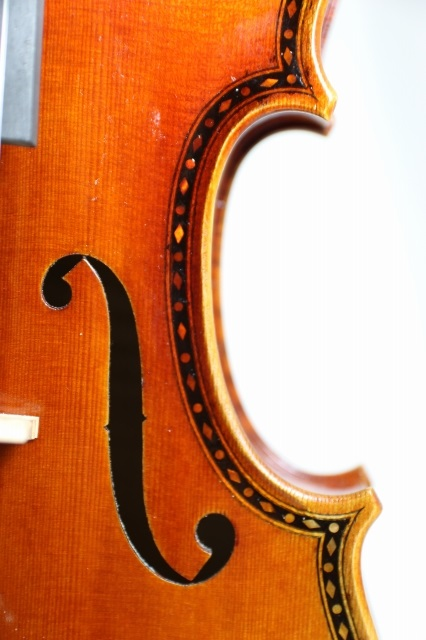 真珠母装飾 ストラド バイオリン 4/4 ワンピース・バック