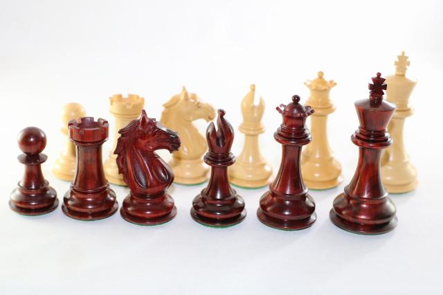 ハンドメイド高級 チェス駒セット ♪アルバン・スタントン 柘植・インド紫檀♪  キング4インチ