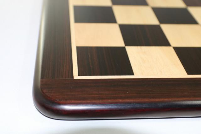 ハンドメイド高級 チェス・ボード(盤) ♪フラット・ラウンド・モデル 柘植・紫檀(ローズウッド)♪  21インチ