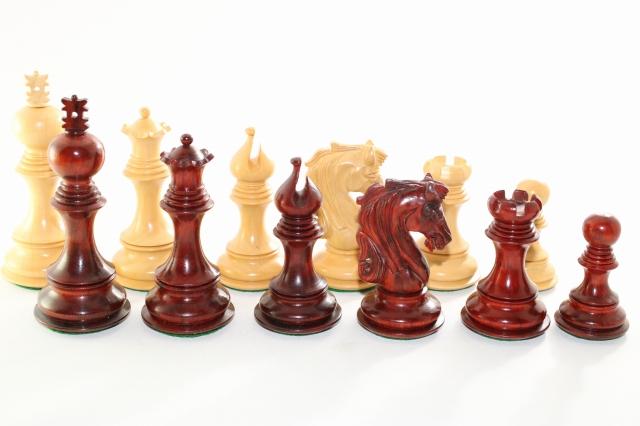 ハンドメイド高級 チェス駒セット ♪プレミアム・クオリティ インド紫檀・柘植♪  キング4.5インチ