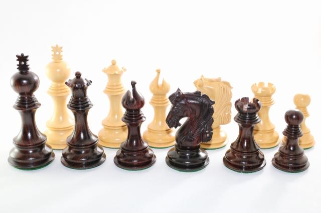 ハンドメイド高級 チェス駒セット ♪プレミアム・クオリティ 紫檀(ローズウッド)・柘植♪  キング4.5インチ