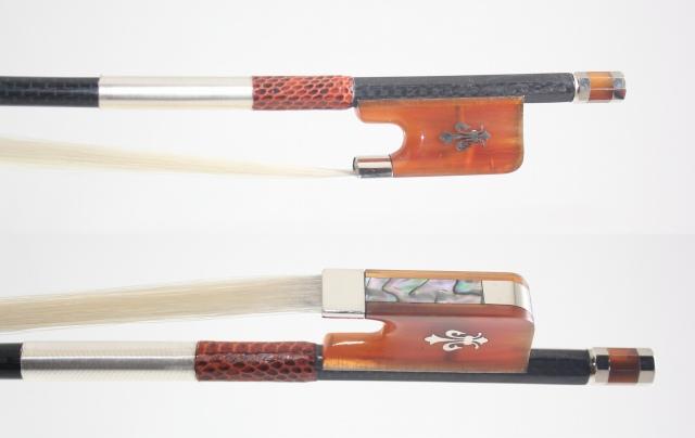 ブレード・カーボン チェロ弓、Braided Net Carbon 4/4 Ox-Hornフロッグ