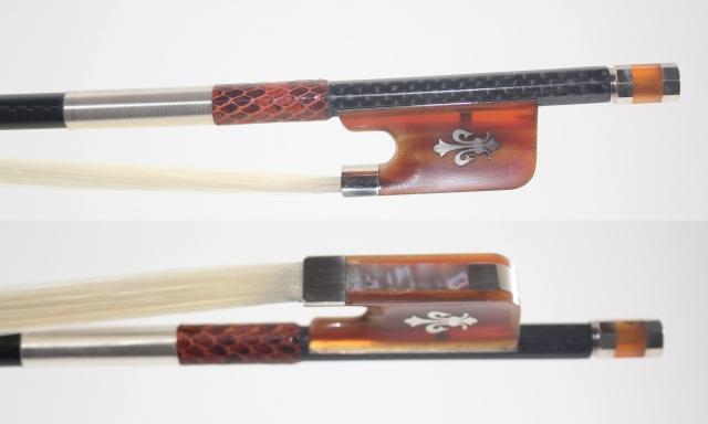 ブレード・カーボン ビオラ弓、Braided Net Carbon 4/4 Ox-Hornフロッグ