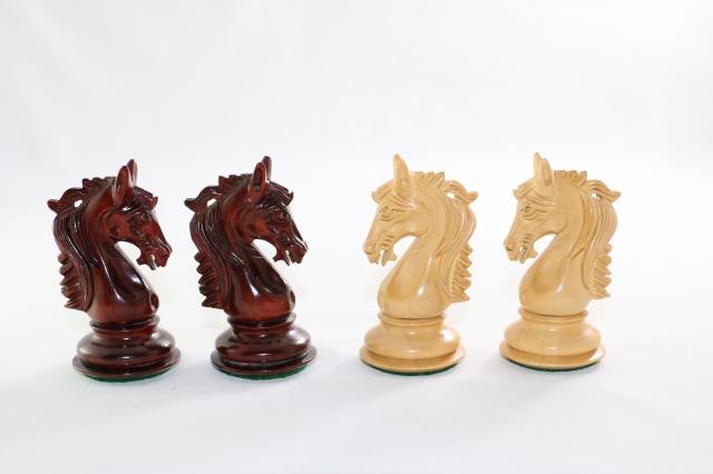 ハンドメイド高級 チェス駒セット ♪スタリオン・ナイト 柘植・インド紫檀♪  キング4.5インチ
