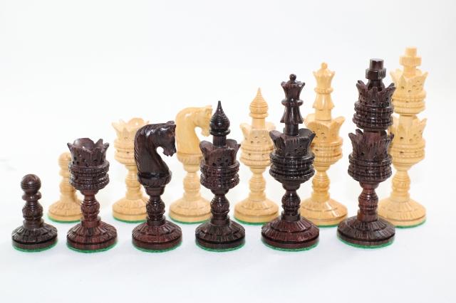 ハンドメイド高級 チェス駒セット ♪ロータス 柘植・紫檀♪  キング4インチ
