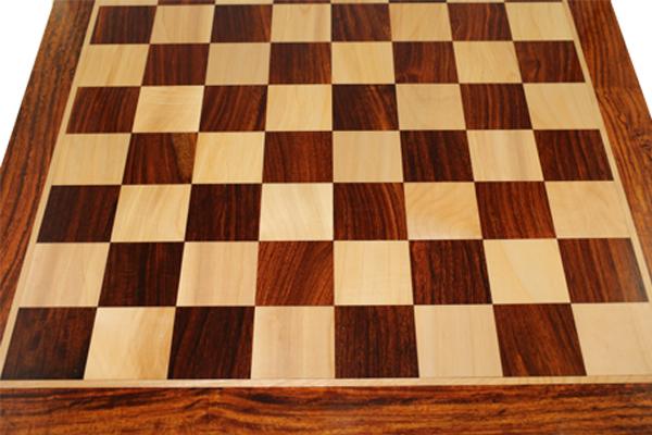 ハンドメイド高級 チェス・ボード(盤) ♪フラット・スクウェア・モデル 紫檀・柘植♪  21インチ