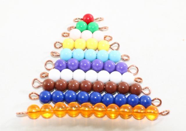 モンテッソーリ 色ビーズ 1から10 Montessori Colored 全国どこでも送料無料 ご予約品 1-10 Bead 知育玩具 Stairs