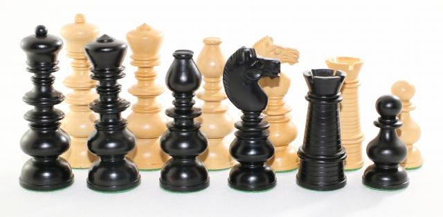 ハンドメイド高級 チェス駒セット ♪ニュー・コンベンショナル・デザイン 柘植・エボナイズド♪  キング9センチ
