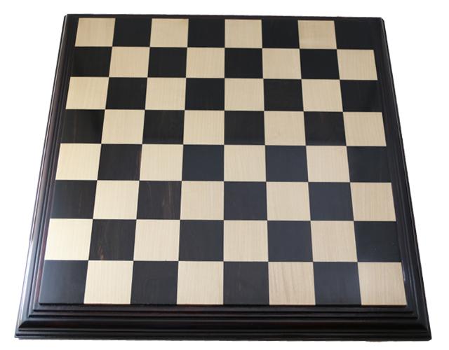 ハンドメイド高級 チェス・ボード(盤) ♪台座モデル 黒檀・柘植・アカシア(ローズウッド色)♪  21インチ