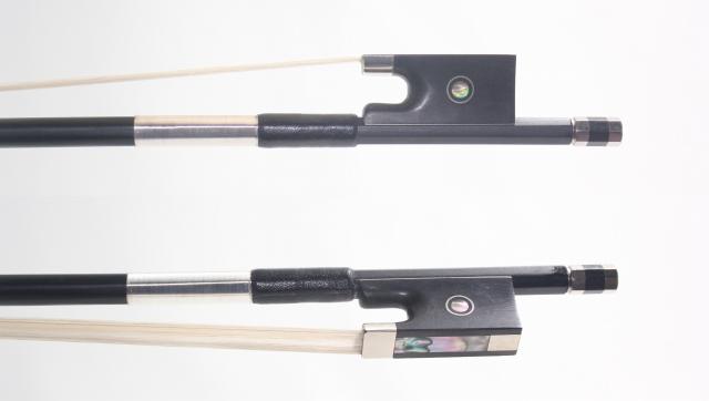 分数用バイオリン弓 カーボン黒、シルバー巻き、黒檀、3/4、1/2、1/4、1/8 パリジャンアイ