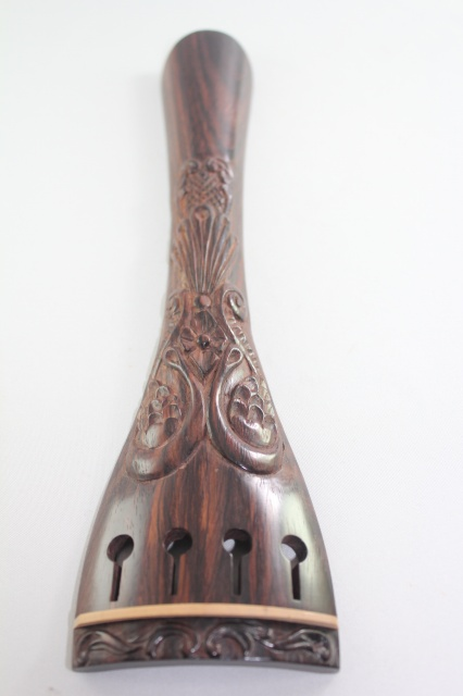 チェロ用 紫檀 装飾テールピース、ラウンド型、白フレット