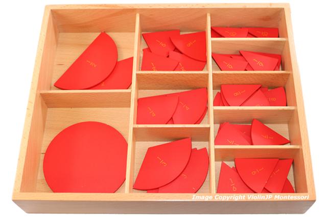 モンテッソーリ 木製分割円形セット ♪1/10まで♪ Montessori Fraction Circles