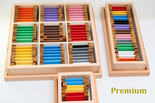 【プレミアム・ライン】モンテッソーリ 色板 ♪第1、2、3の箱セット♪ Montessori Color Tablets Box 1, 2, 3 知育玩具