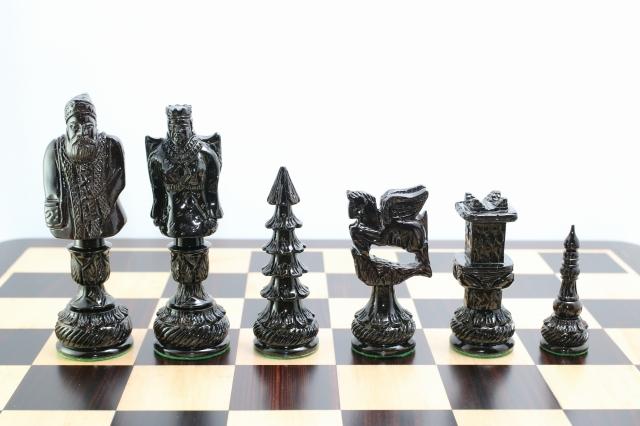 ハンドメイド高級 クリスマス チェス駒セット ♪黒檀・柘植♪  キング5.6インチ