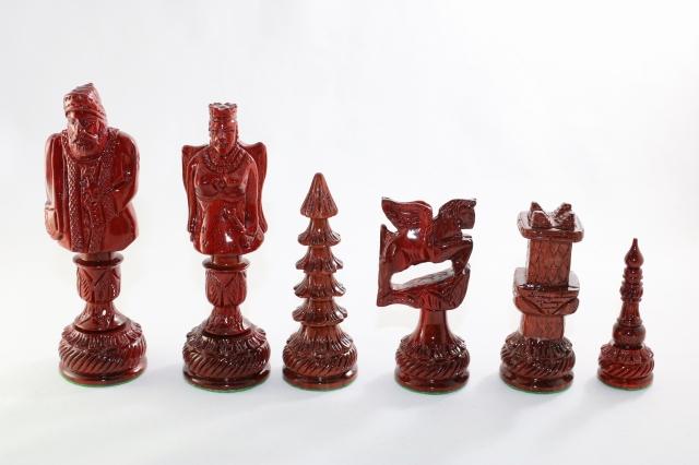 ハンドメイド高級 クリスマス チェス駒セット ♪インド紫檀・柘植♪  キング5.6インチ