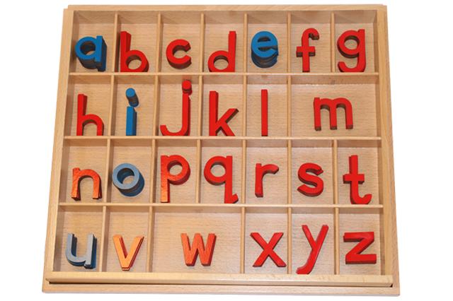 モンテッソーリ 切り抜きアルファベット 小文字 ブルー&レッド ♪小、箱付き♪ Montessori Movable Alphabet Lowercase 知育玩具