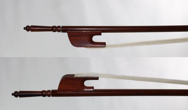 ヴィオラ弓 ロング・スクリュー、アフリカン・ブラック・ウッド、バロック弓