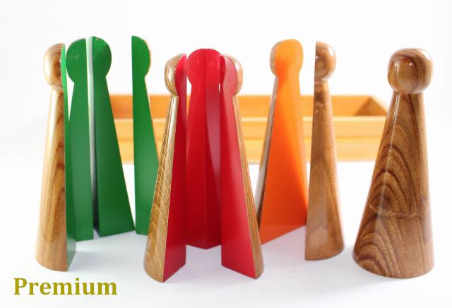 【プレミアム・ライン】モンテッソーリ 分数の小人 ♪紫檀製、大♪ Montessori Fraction Skittles 知育玩具