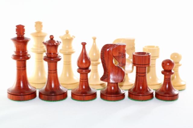 ハンドメイド高級 チェス駒セット ♪ロシアン・プロモ・モデル インド紫檀・柘植♪  キング3.5インチ