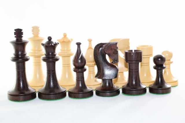 ハンドメイド高級 チェス駒セット ♪ロシアン・プロモ・モデル 紫檀(ローズウッド)・柘植♪  キング3.5インチ