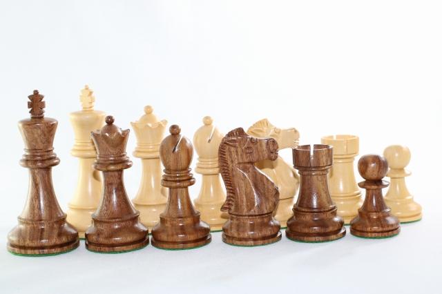 ハンドメイド高級 紫檀(シーシャム)・柘植  ♪フィッシャー・スパースキー・モデル♪ チェス駒セット キング3.75インチ