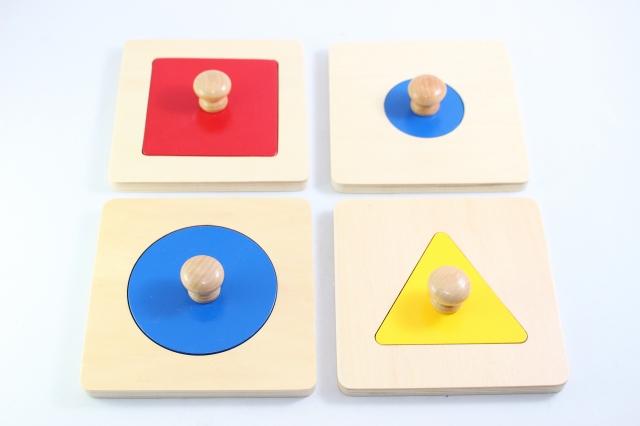 当店限定販売 モンテッソーリ はめ込みパズル シングル4枚セット Montessori Puzzle Shape 人気商品 知育玩具 Single