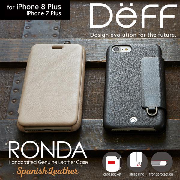 iPhone 8 Plus / iPhone 7 Plus 用 RONDA Spanish Leather Case (フリップタイプ) for iPhone8Plus / iPhone7Plus 手帳型 ダイアリー 横型 横開き ケース レザー ICカード ポケット ホルダー 名刺入れ カバー ジャケット 折りたたみ 二つ折り 画面保護 フリップ