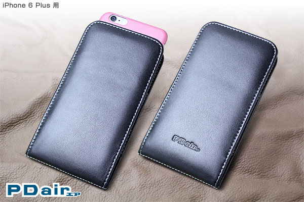 iPhone 6s Plus / iPhone 6 Plus with Case 用 ケース PDAIR レザーケース for iPhone 6s Plus / iPhone 6 Plus with Case バーティカルポーチタイプ iPhone6プラス(5.5インチ) おしゃれ 本革使用 アップル純正のシリコーンケースなどを装着したまま収納可能