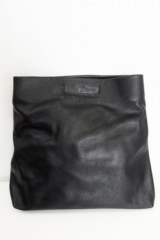atelier marchal レザー パンチング ハンドバッグ ブラック