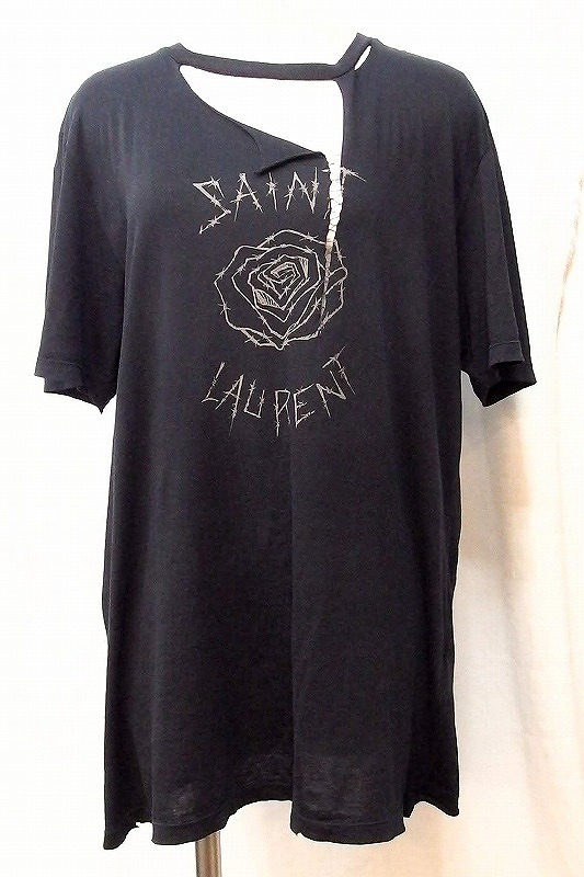 SAINT LAURENT PARIS サンローランパリ デザインTシャツ 薔薇 ローズ 今季'19モデル S ブラック