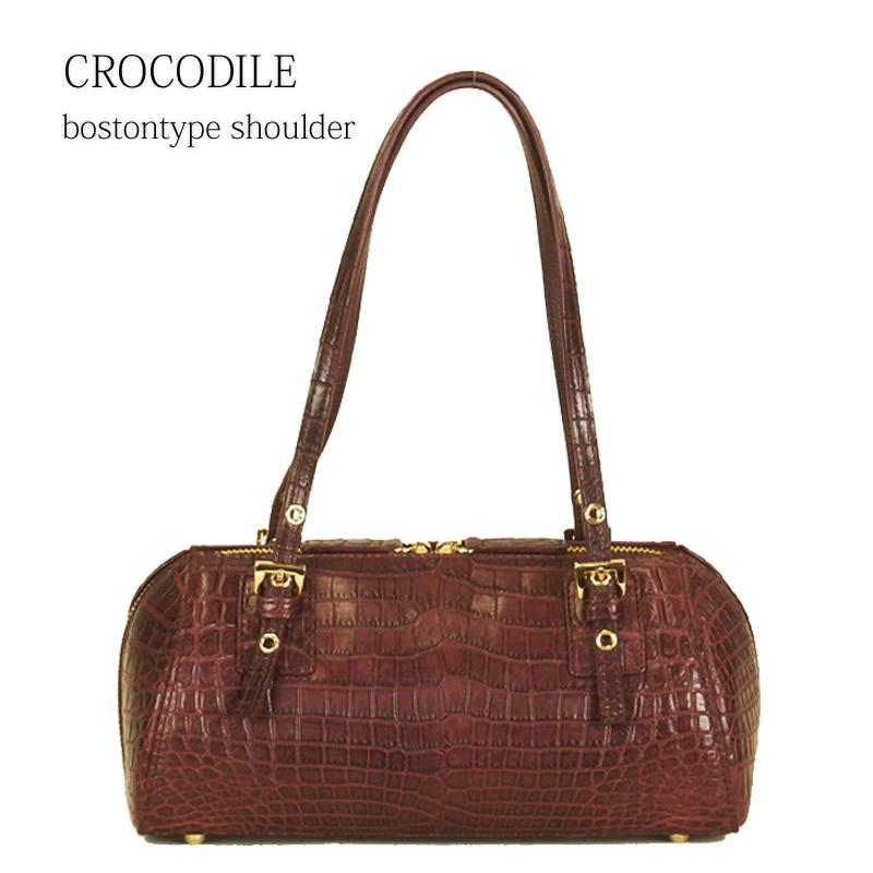 【CROCODILE】【クロコダイル】【現品限り】センター取りナイルクロコ ロールショルダー 肩掛け レディースバッグ 通勤バッグ 送料無料 大人可愛い