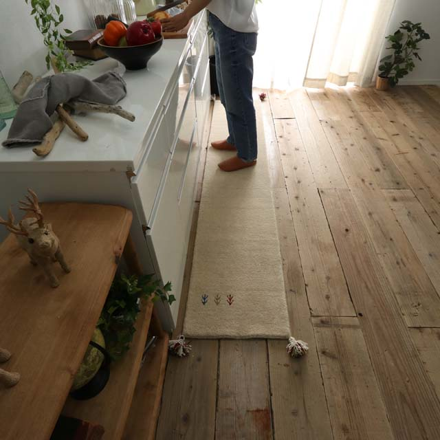 上質ウール100%のインドギャッベ キッチンマット 約45x240cm