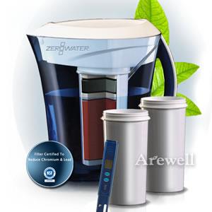【送料無料】ZeroWater(ゼロウォーター) ウォーターサーバーセット ウォーターサーバー本体(約コップ23杯分)&交換用フィルタカートリッジ&簡易水質計測器 究極の5層ろ過式フィルターで水道水が不純物ゼロに。マイクロプラスチックも除去!浄水器 浄水サーバー