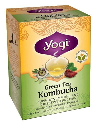 コンブチャ コンブ茶 16ティーバッグ×1箱 yogi tea ヨギティー のKombucha こんぶちゃ 国内在庫 紅茶きのこ オーガニック緑茶と紅茶キノコ ハーブティーでダイエット のコラボ ミント味をブレンドして飲みやすい 商い こんぶ茶 ハリウッドで火がついたハーブティーでダイエット