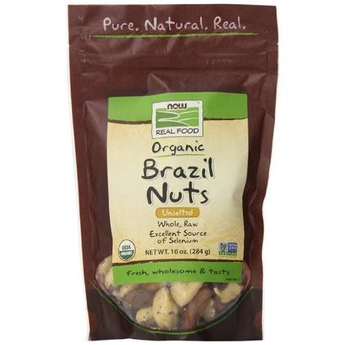 オーガニック ブラジルナッツ284g(10oz)有機栽培されたブラジルナッツをそのまま袋に閉じこめた無塩ナッツUSDAオーガニック認証つきセレニウム(セレン)、マグネシウムがたっぷり!now foods(ナウフーズ社)
