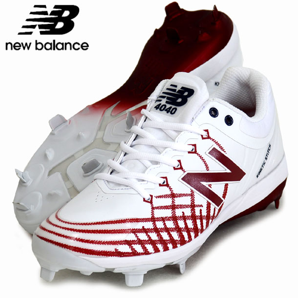 L4040 AS5【New Balance】ニューバランス 野球スパイク 19AW(L4040AS5D-WHITE/RED/NAVY)*20