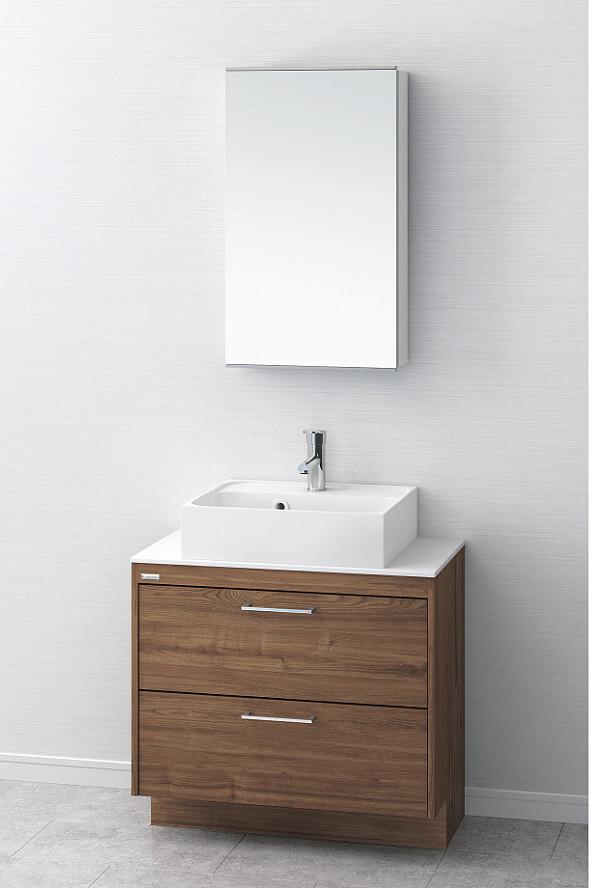 洗面台 おしゃれ 洗面化粧台 間口750mm アサヒ衛陶 デューク 一面鏡 MM450N LKDU750AFNJMM45