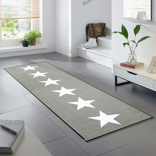 ラグマット 玄関マット インテリアマット 屋外 屋内兼用 おしゃれ かわいい 洗える 敷くだけ 滑り止め 薄型 wash&dry(ウォッシュアンドドライ) Stars sand 60×180cm C021C