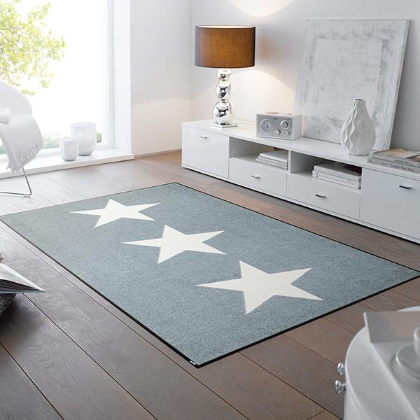 ラグマット 玄関マット インテリアマット 屋外 屋内兼用 おしゃれ かわいい 洗える 敷くだけ 滑り止め 薄型 wash&dry(ウォッシュアンドドライ) Stars grey 75×120cm C022B
