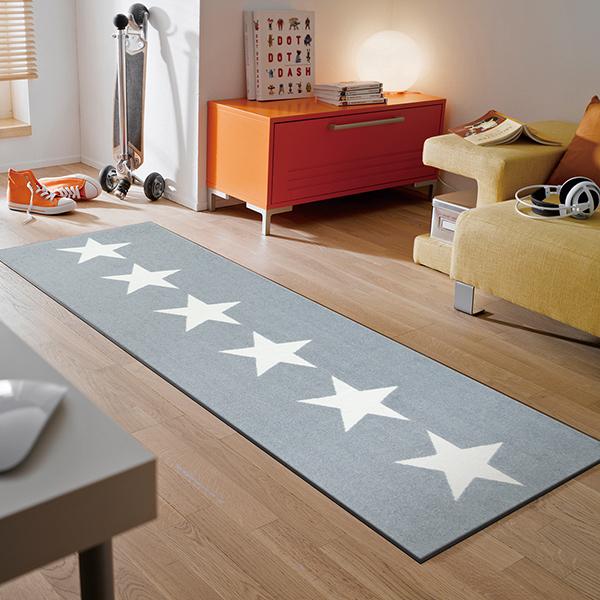 ラグマット 玄関マット インテリアマット 屋外 屋内兼用 おしゃれ かわいい 洗える 敷くだけ 滑り止め 薄型 wash&dry(ウォッシュアンドドライ) Stars grey 60×180cm C022C