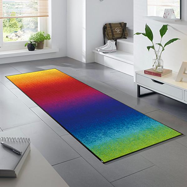 ラグマット 玄関マット インテリアマット 屋外 屋内兼用 おしゃれ かわいい 洗える 敷くだけ 滑り止め 薄型 wash&dry(ウォッシュアンドドライ) Rainbow 60×180cm J011C