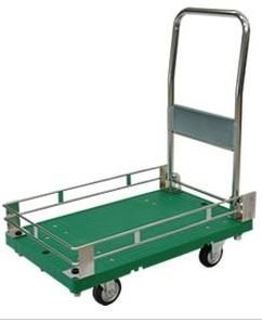 シシクアドクライス プラスチック製 ハンドル折りたたみ 三面ガード付 運搬台車 SA-SSG-3 キャスター:ゴム車輪付