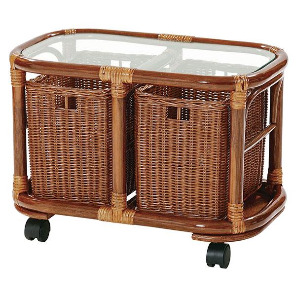ガラステーブル キャスター付 幅51cm 奥行30cm 高さ37cm T409HR カゴ付 ラタン 完成品 快適 涼しい アジアンテイスト キムラ サンフラワーラタン 送料無料 ヴィヴェンティエ
