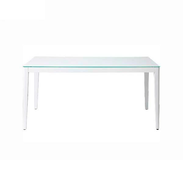 ダイニングテーブル 幅150 高さ72 ホワイト色 ガラス天板 脚部木製 長方形テーブル 飛散防止ガラス シンプル デザイン ナチュラル あずま工芸 ウィズ GDT7681 TOCOM 北欧テイスト インテリア 送料無料 ヴィヴェンティエ