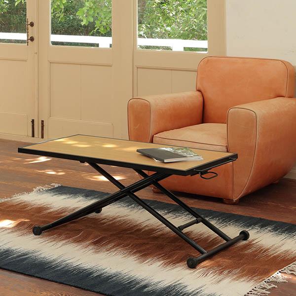 RLT4526 昇降テーブル ナチュラル色 幅124 高さ11-70 長方形テーブル 天然木 オーク 無段階高さ調節 スチール 高さ可変テーブル シンプル デザイン あずま工芸 カイト 北欧テイスト インテリア 送料無料 ヴィヴェンティエ