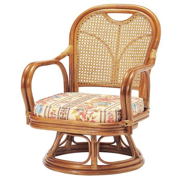 ラタン回転椅子ロータイプ(SH290) 幅52cm 奥行57cm 高さ69(SH29)cm フレーム:籐張地:布張り(コットン100%) R-290S UTILITY 弘益 インテリア 家具 雑貨 セール 送料無料 ヴィヴェンティエ